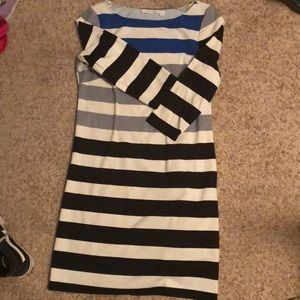Black and White Striped Dress w/ Sleeves